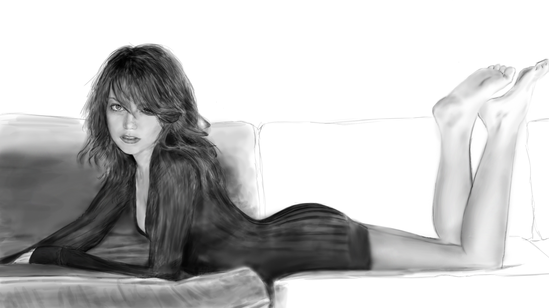 Drawing of the actress Emma Stone